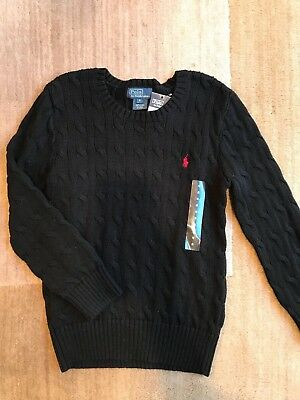 NWT $45 Polo Ralph Lauren Children Boys Cable-Knit Sweater size 6 , Black