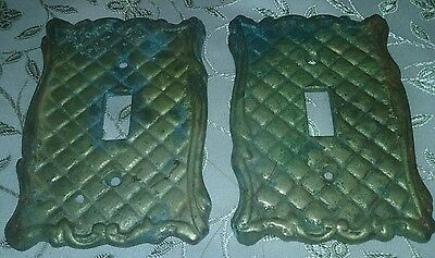 2 *VINTAGE* Single Brass Light Switch Plate Covers lots of Great Patina.