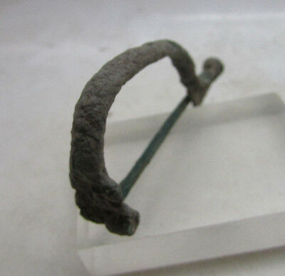 Ancient Rome Bronze Aucissa Brooch Circa 100-400Ad