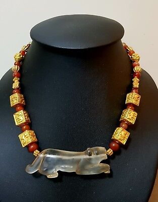 Burmese ancient Pyu carnelian & gold dice  beads necklace burma bead