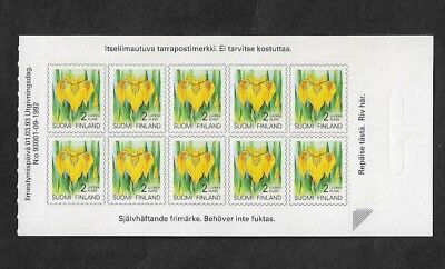 FINLAND - 1992 Flowers, mint P&S booklet half, MNH MUH