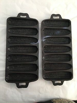 "Lot of 2 Vintage Cast Iron 7 Ear Corn Bread Muffin Pan Mold  ""Seasoned"""