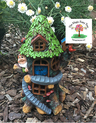 Solar Gnome Tree House - Fairy Garden Fairies Decor Craft Treehouse Gnomes