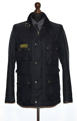 "Auth Men's Barbour International Padded Jacket Mqu0420Bk91 Size M P2P 22.5"" Euc"