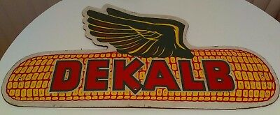 "Vintage Large Dekalb Flying Corn Seed Feed Farm Sign 31"" x 17"""