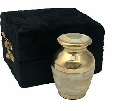 Mother of Pearl Brass Keepsake Cremation Urn With Velvet Box And Free Shipping!!