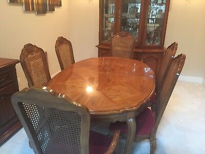 Thomasville formal dining room set with china cabinet and 6 chairs plus server