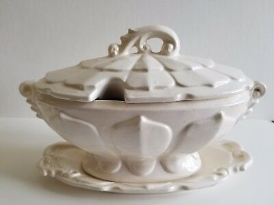 Ornate White Ceramic Victorian Style Gravy Tureen / Boat With Lid & Tray
