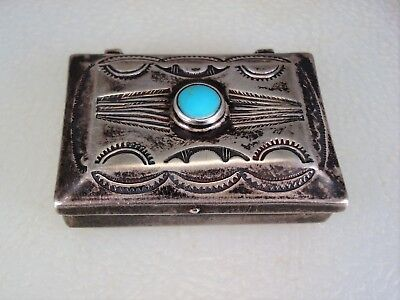 Old Navajo Stamped Sterling Silver & Turquoise Pillbox Pill Box