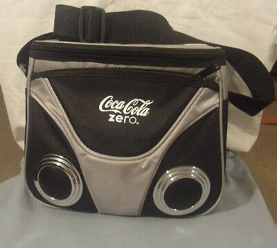 """Leeds Music Cooler Insulated Lunch Tote Bag Speaker System """"Coca Cola Zero"""" NEW"""
