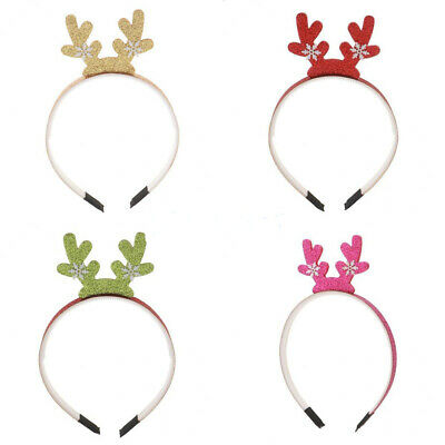Christmas Reindeer Antlers Snowflake Headband Xmas Kids Hair Band Head Hoop