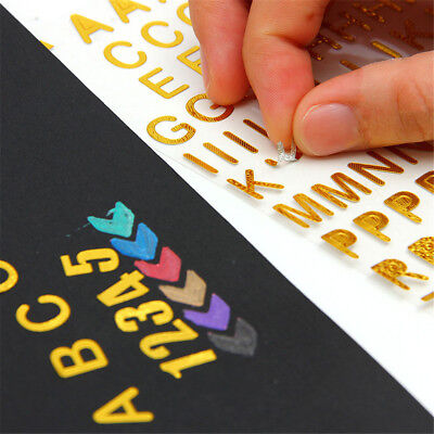 1pc Creative Photo Gold Letters Decor Self-adhesive Sticker for Scrapbooking GT