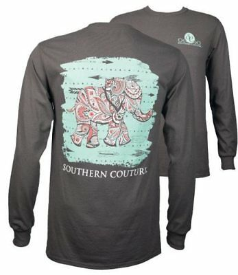 Southern Couture Paisley Elephant Charcoal Long Sleeve Tee Shirt