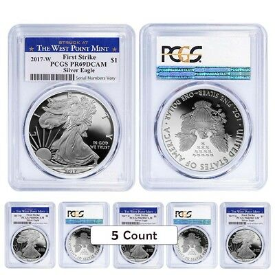 Lot of 5 - 2017-W 1 oz Proof Silver American Eagle PCGS PF 69 DCAM First Strike