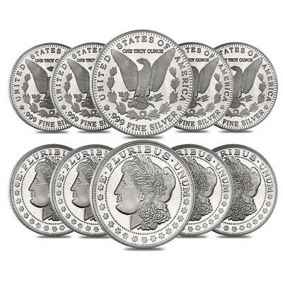 Lot of 10 - 1 oz Morgan Silver Round .999 Silver