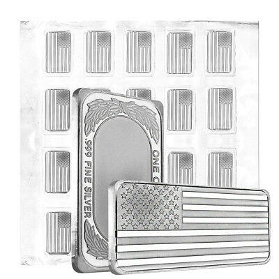 Sheet of 20 - 1 oz American Flag Silver Bar .999 Silver (Sealed, Lot,Tube of 20)