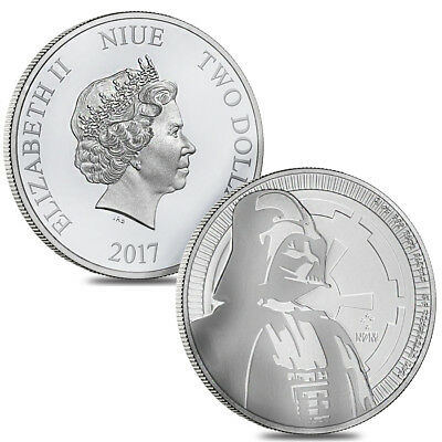 Lot of 2 - 2017 1 oz Niue Silver $2 Star Wars Darth Vader BU