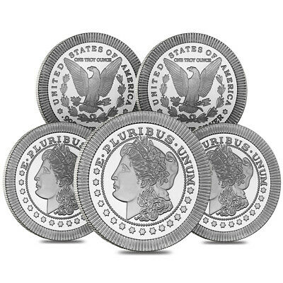 Lot of 5 - 1 oz Morgan Stackable Silver Round .999 Silver