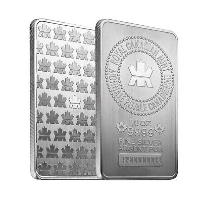10 oz Royal Canadian Mint (RCM) .9999 Fine Silver Bar (Sealed)