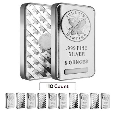 Lot of 10 - 5 oz Silver Sunshine Mint Bar .999 Fine (Sealed)