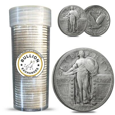 $10 Face Value Standing Liberty Quarters 90% Silver 40-Coin Roll (Circulated