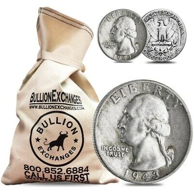 $100 Face Value Bag - 400 Coins - 90% Silver Washington Quarters 25c Circulated