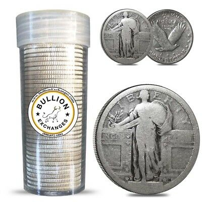 $10 Face Value Standing Liberty Quarters No Dates 90% Silver 40-Coin Roll