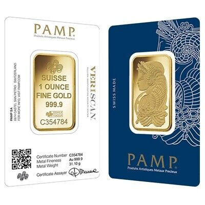 Sale Price - 1 oz Gold Bar PAMP Suisse Lady Fortuna Veriscan .9999 Fine (In