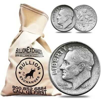 $100 Face Value Bag - 1000 Coins - 90% Silver Roosevelt Dimes 10c (Circulated)