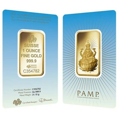 1 oz PAMP Suisse Gold Bar - Lakshmi (in Assay) .9999 Fine