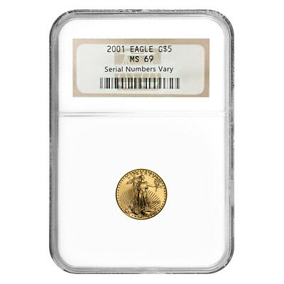 2001 1/10 oz $5 Gold American Eagle NGC MS 69