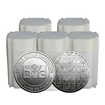 Lot of 100 - 1 oz Republic Metals (RMC) Silver Round .999 Fine (Tube,Roll,Lot of