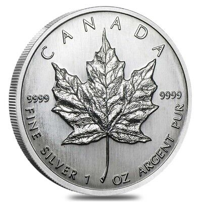 1989 1 oz Silver Canadian Maple Leaf .9999 Fine $5 Coin BU (Sealed)