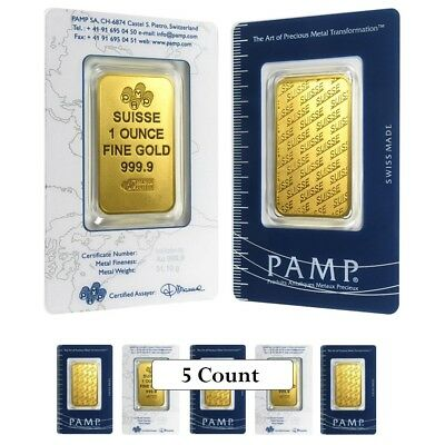 Lot of 5 - 1 oz Gold Bar - PAMP Suisse - New Design (In Assay)