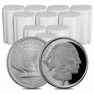 Lot of 200 - 10 Rolls Buffalo Design Republic Metals 1 oz. Silver Round (RMC)