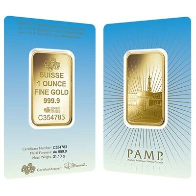 1 oz PAMP Suisse Gold Bar - Ka ´Bah, Mecca (in Assay) .9999 Fine