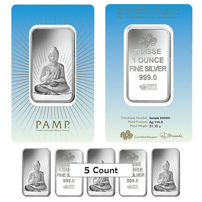 Lot of 5 - 1 oz PAMP Suisse Silver Bar - Buddha (in Assay) .999 Fine
