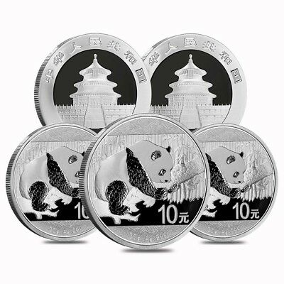 Lot of 5 - 2016 30 gram Chinese Silver Panda 10 Yuan .999 Fine BU