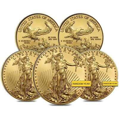 Lot of 5 - 1/10 oz Gold American Eagle $5 Coin BU (Random Year)