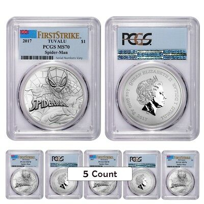 Lot of 5 - 2017 1 oz Tuvalu Spiderman Marvel Series Silver Coin PCGS MS 70 First