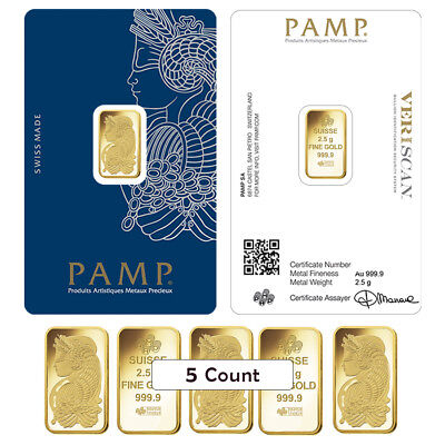 Lot of 5 - 2.5 gram Gold Bar PAMP Suisse Lady Fortuna Veriscan .9999 Fine (In