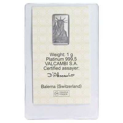1 gram Credit Suisse Statue of Liberty Platinum Bar .9995 Fine (In Assay)