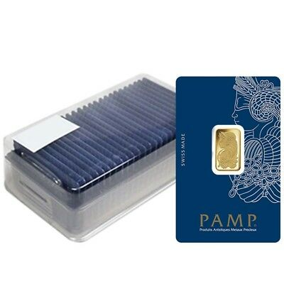 Box of 25 - 5 gram Gold Bar PAMP Suisse Lady Fortuna Veriscan (In Assay)