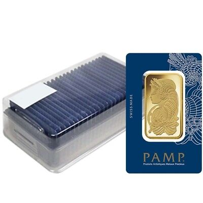 Box of 25 - 50 gram Gold Bar PAMP Suisse Lady Fortuna Veriscan .9999 Fine (In