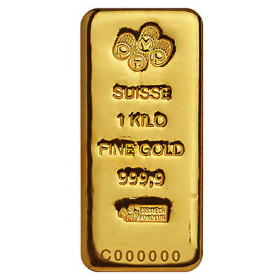 1 Kilo Gold Bar PAMP Suisse .9999 Fine (Cast, w/Assay)