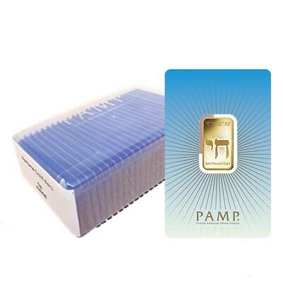 Box of 25 - 10 gram PAMP Suisse Gold Bar - Am Yisrael Chai (in Assay) .9999 Fine