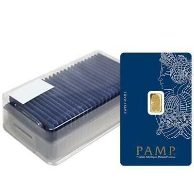 Box of 25 - 1 gram Gold Bar PAMP Suisse Lady Fortuna Veriscan .9999 Fine Assay