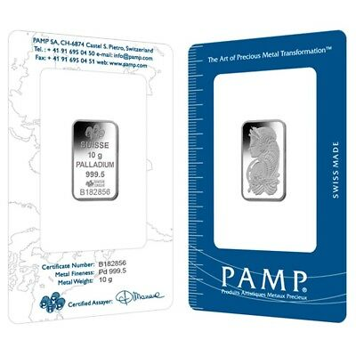 10 gram PAMP Suisse Palladium Bar .9995 Fine (In Assay)