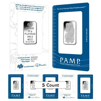 Lot of 5 - 20 gram PAMP Suisse Lady Fortuna Platinum Bar .9995 Fine (In Assay)