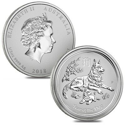 Lot of 2 - 2018 1/2 oz Silver Lunar Year of The Dog BU Australian Perth Mint In